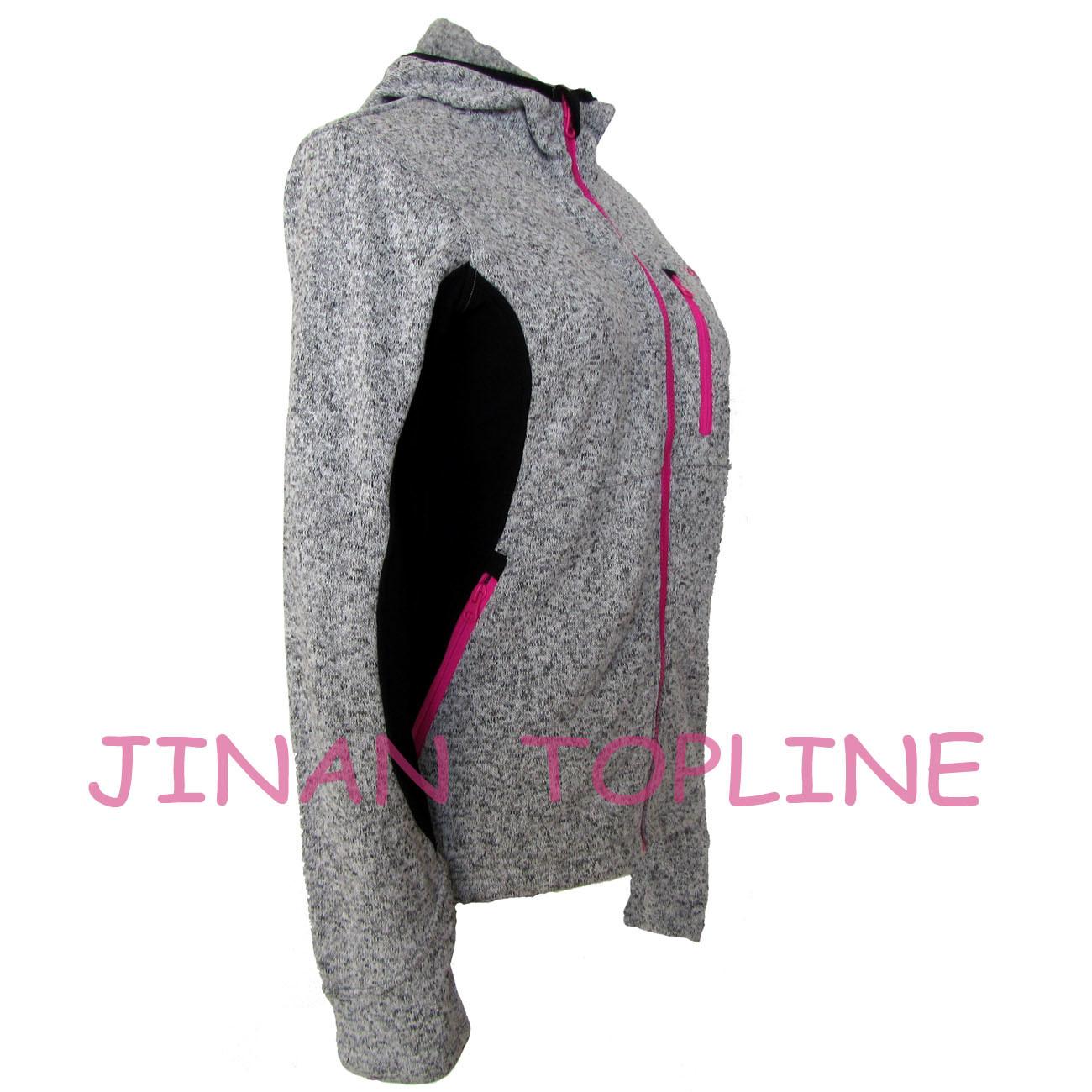 Women Fashion Hoody Figure-Flattering Bonded Micro Fleece Jacket