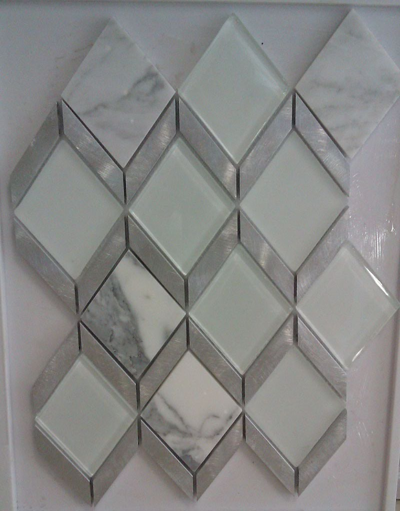 Rhombus Mosaic, Aluminum and Marble Crystal Glass Tile (HGM380)
