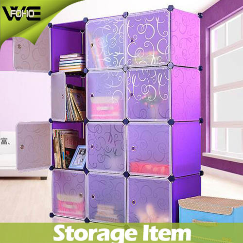 12 Cubes Modular Plastic Storage Box Fashion Wardrobe Closet Bedroom Furniture