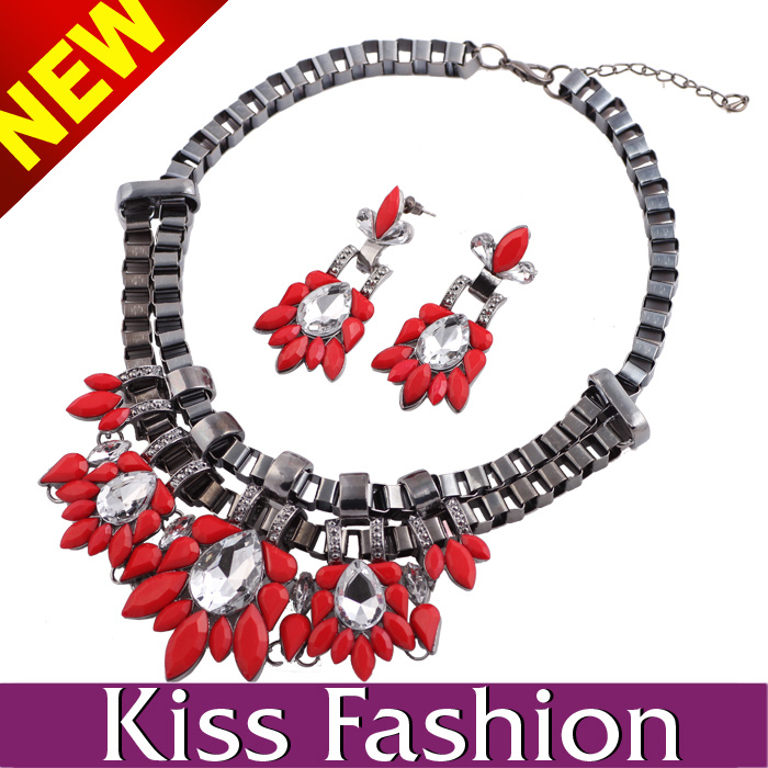 Fashion Chunky Statement Crystal Collar Necklace and Earring Jewelry Set (ES0013C)