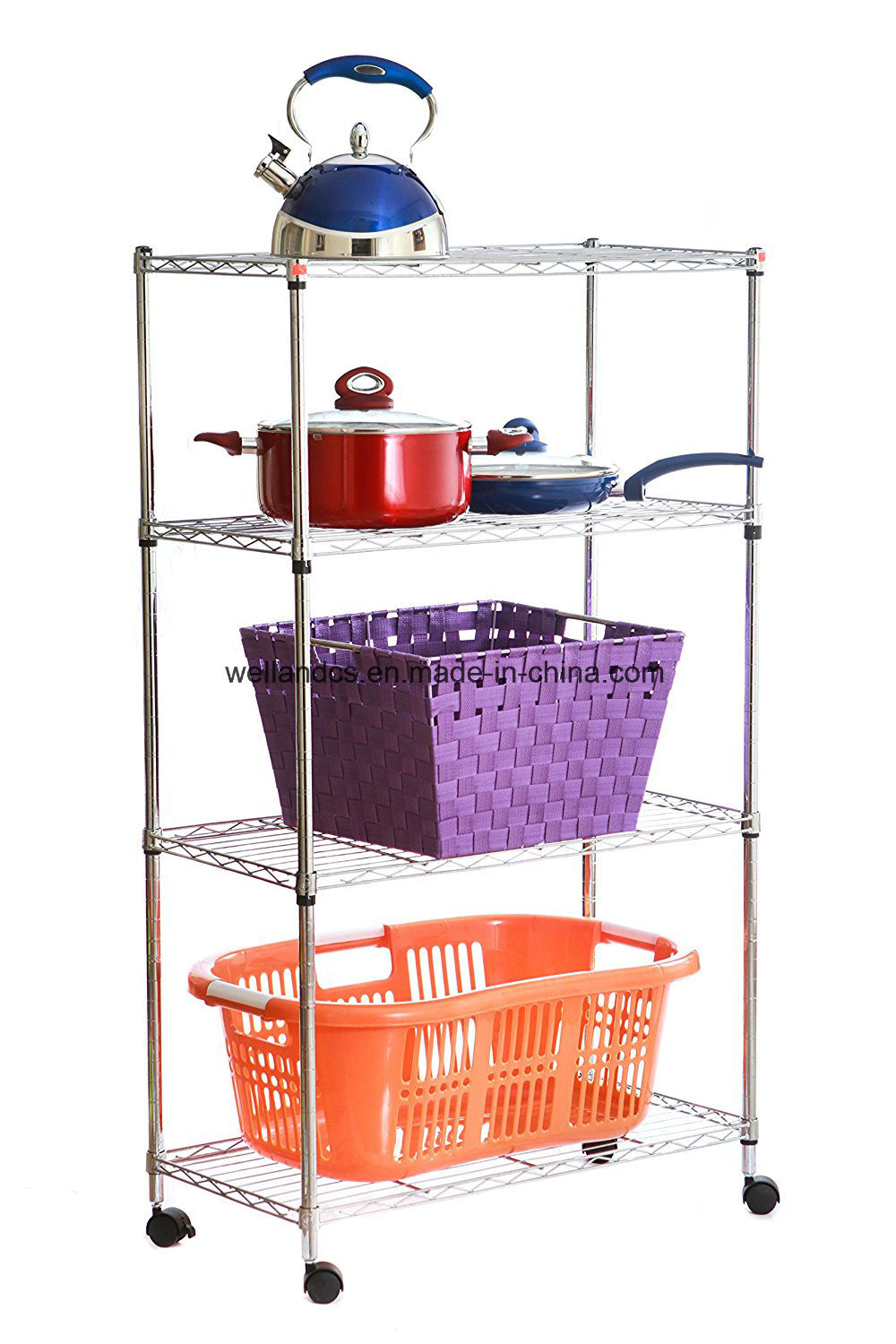 Supreme DIY 4 Layers Home Kitchen Storage Chrome Steel Wire Shelf Rack