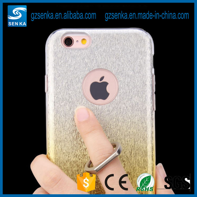 for Luxury Ladies 3 in 1 Plating Glitter Powder Ring Holder for iPhone 7 Back Cover Case