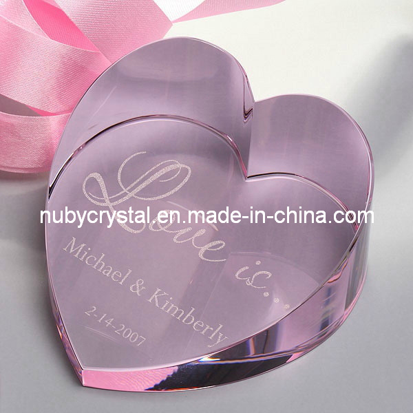 Crystal Love Heart Paperweight for Wedding/Souvenir Personalized Gift 50mm