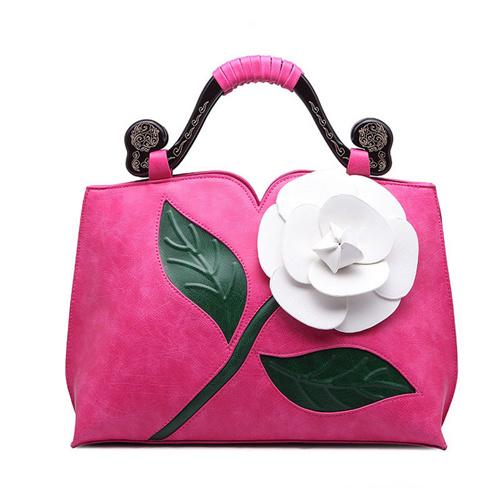 Unique Designe PU Handbags with Flower
