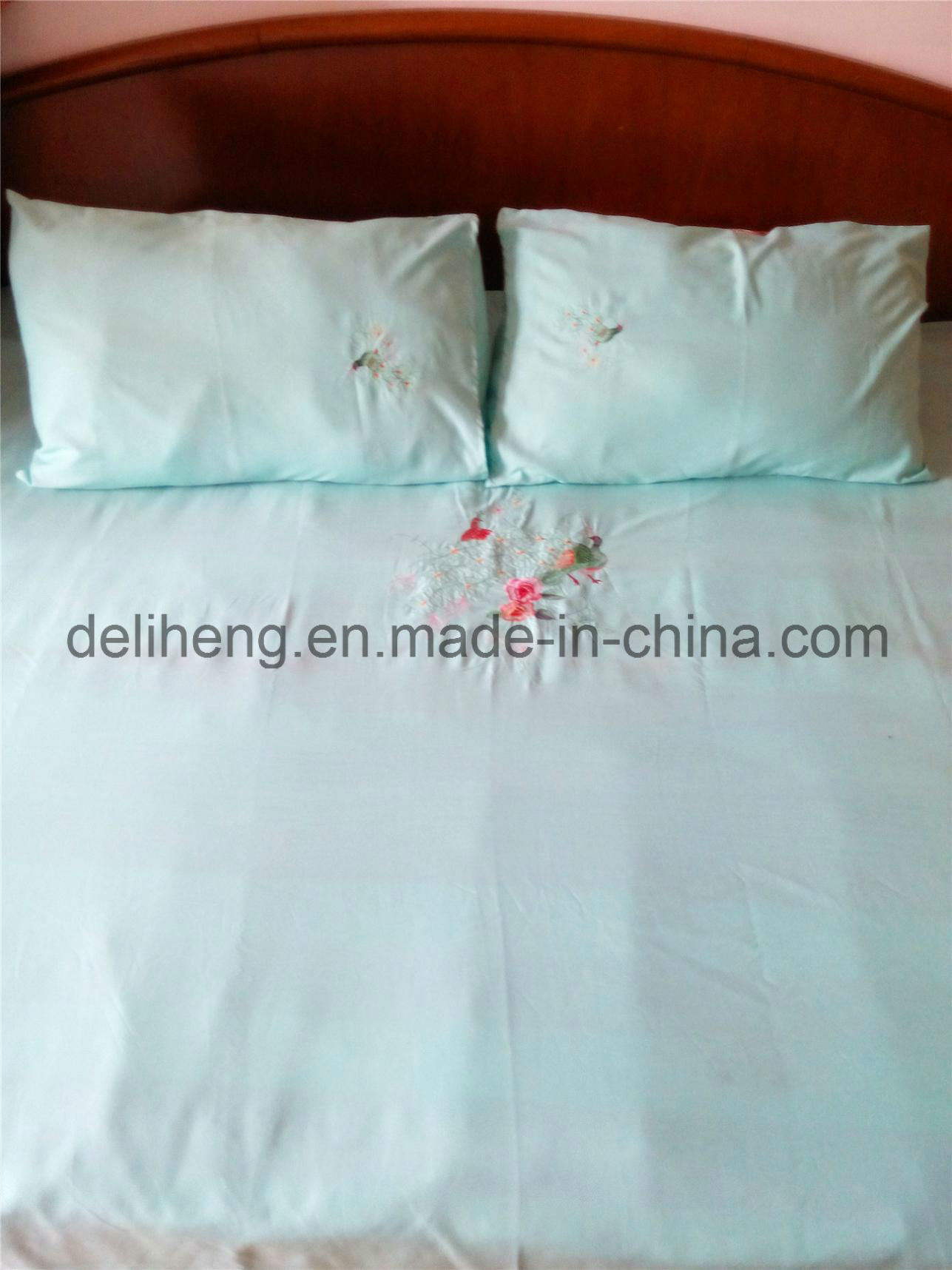 3PCS Embroidered 100% Microfiber Polyester Plain Dyed Bedsheet Set