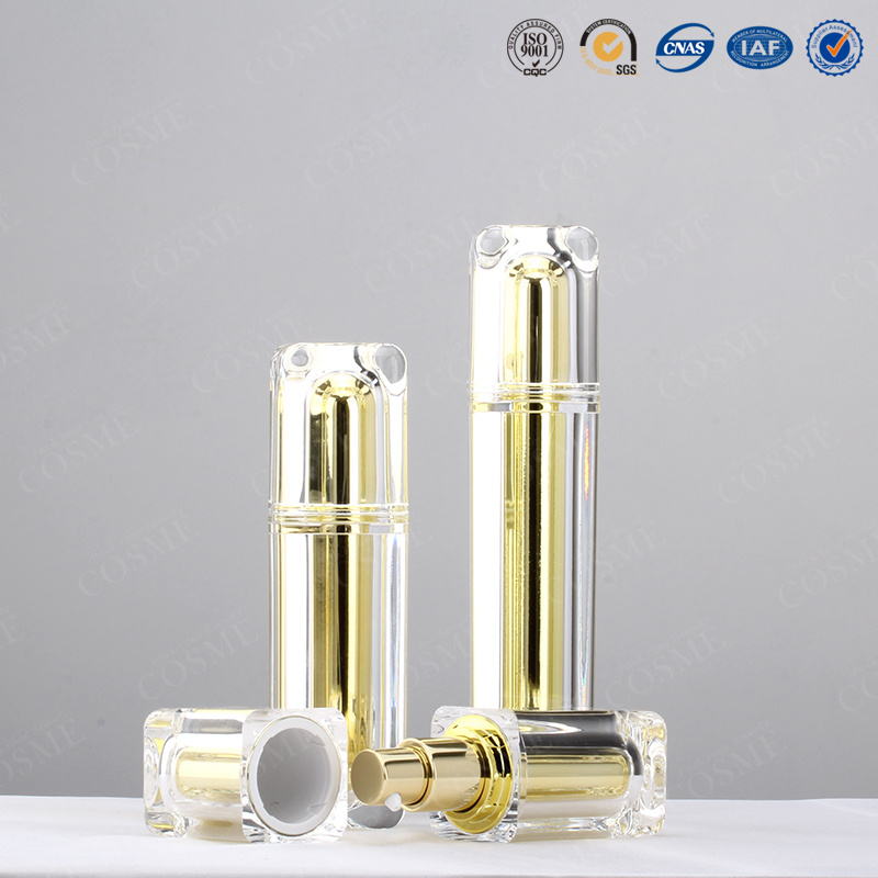15ml 30ml 50ml 100ml High Quality Plastic Acrylic Square Luxury Cosmetic Packaging Bottle