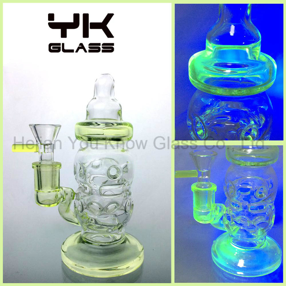 Fluorescent Glass Smoking Water Pipes Heady Glass Bubblers
