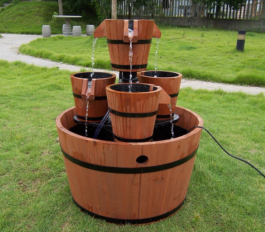 Pump Barrel Fountain Outdoor Home Yard Garden Water Feature