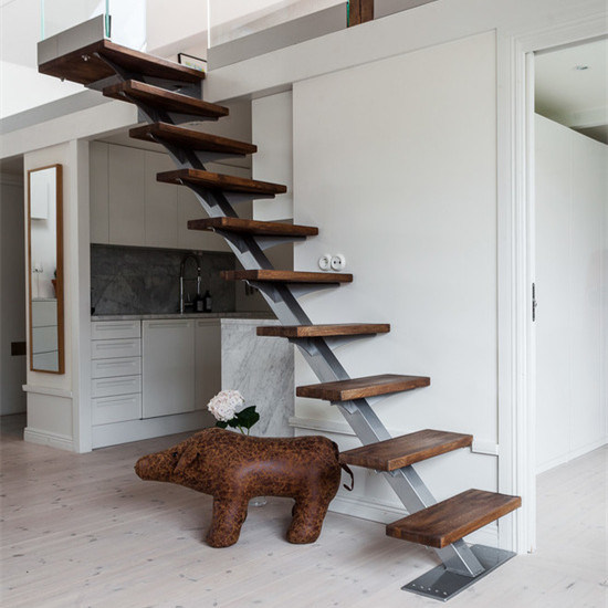 Modern Simple Design Wooden Treads Single Stringer Straight Stairs