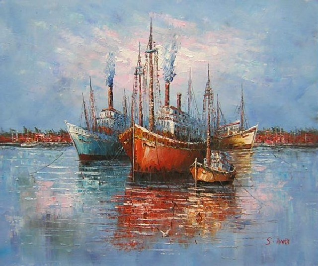 handmade oil painting  boats