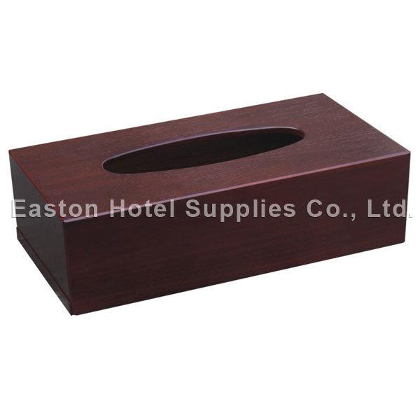 Hotel Mahogany Wooden Rectangle MDF Tissue Holder