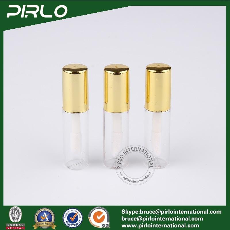 1ml 1g Mini Plastic Lipstick Tube for Lipstick Lip Balm Sampler Lipstick Tube with Brush and Gold Cap