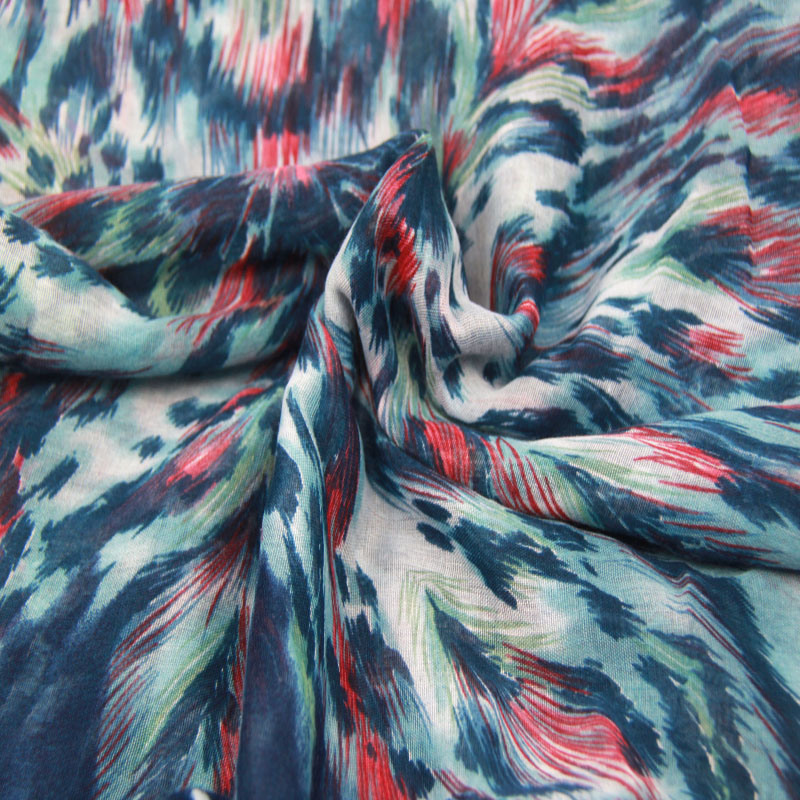 Polyester Printing Blue Scarf Fashion Accessory Ladies Woven Shawl