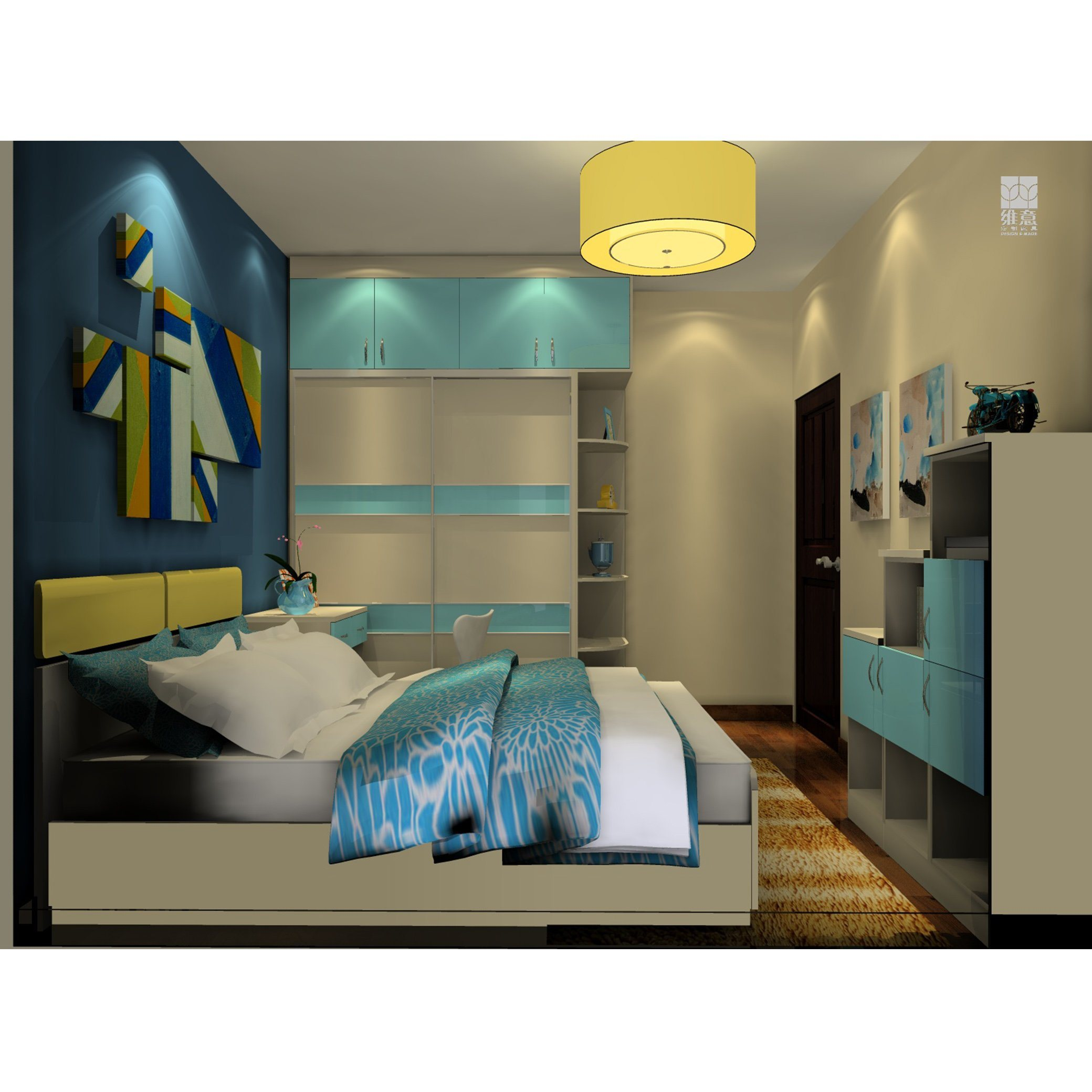 Home Design White and Blue Lacquer Color Contrast Sliding Wardrobe