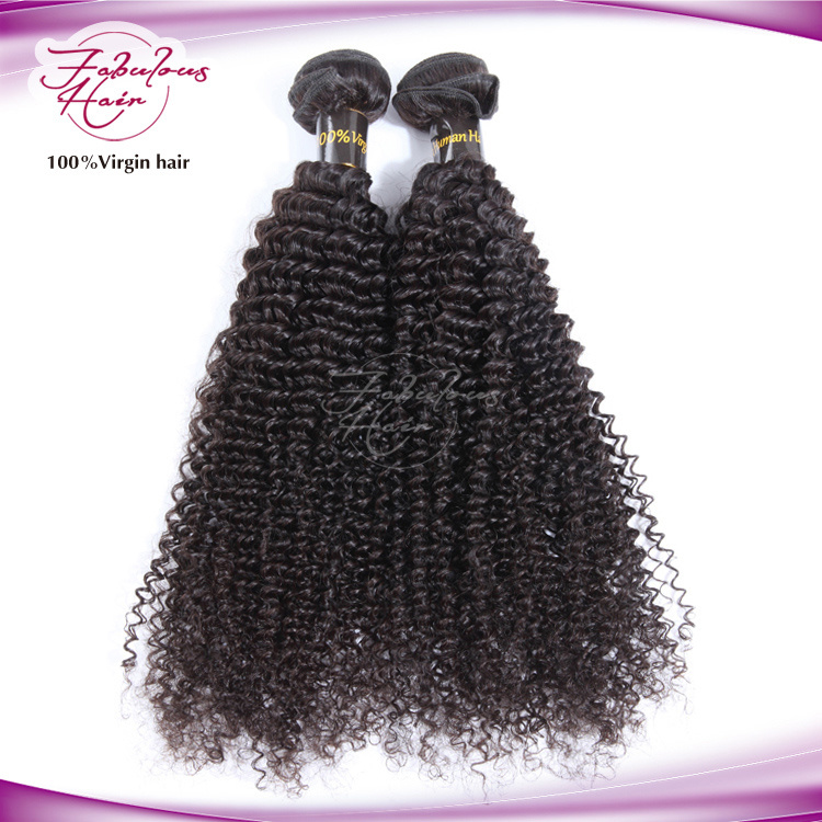 100% Human Hair Kinky Curly Virgin Brazilian Hair Weaving