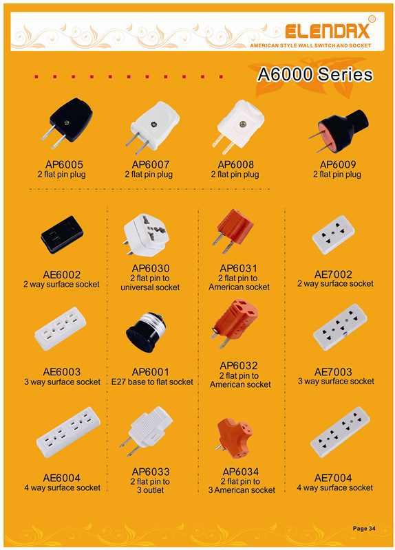 EU Au UK to Us Canada Travel AC Power Socket Plug Adapter Adaptor Converter Electrical Plugs Professional (AP6030)