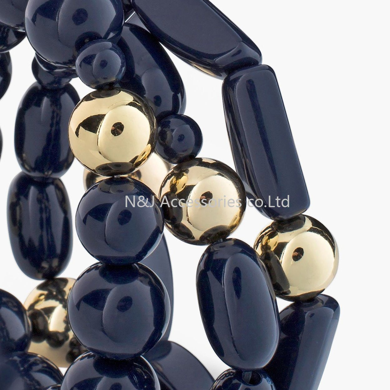 Fashion Jewelry Black Acryl Beads Stretch Bracelets