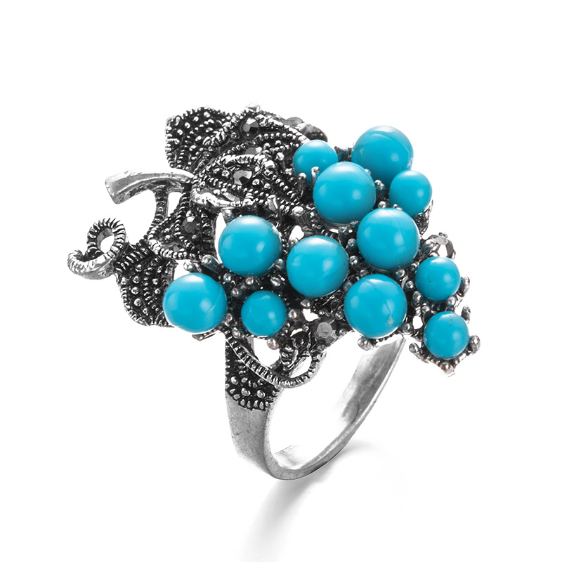 VAGULA Vintage Turqurse Grape Silver Women′s Ring
