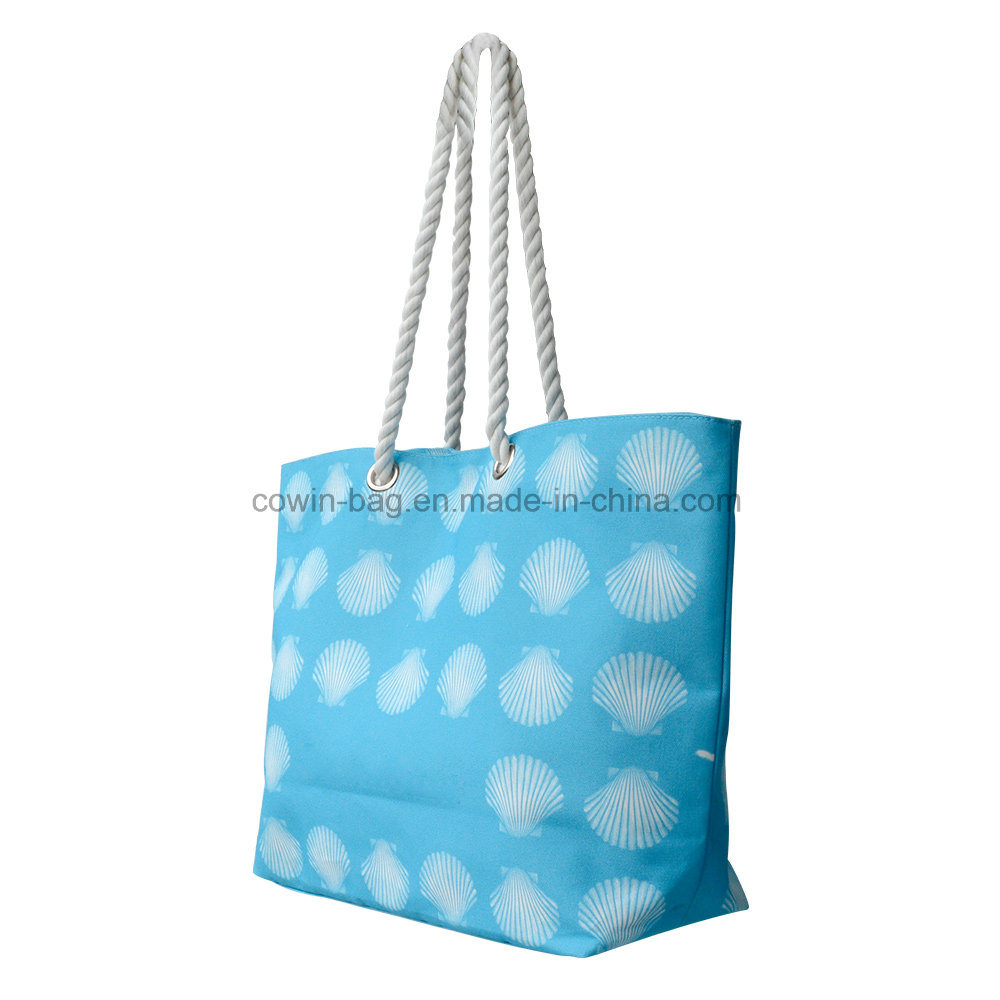 Large Printed Beach Canvas Tote Bag with Rope Handle