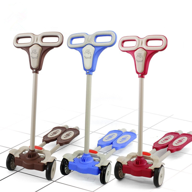 Aluminum Alloy Folding 4 PU Wheels Child Baby Scooter