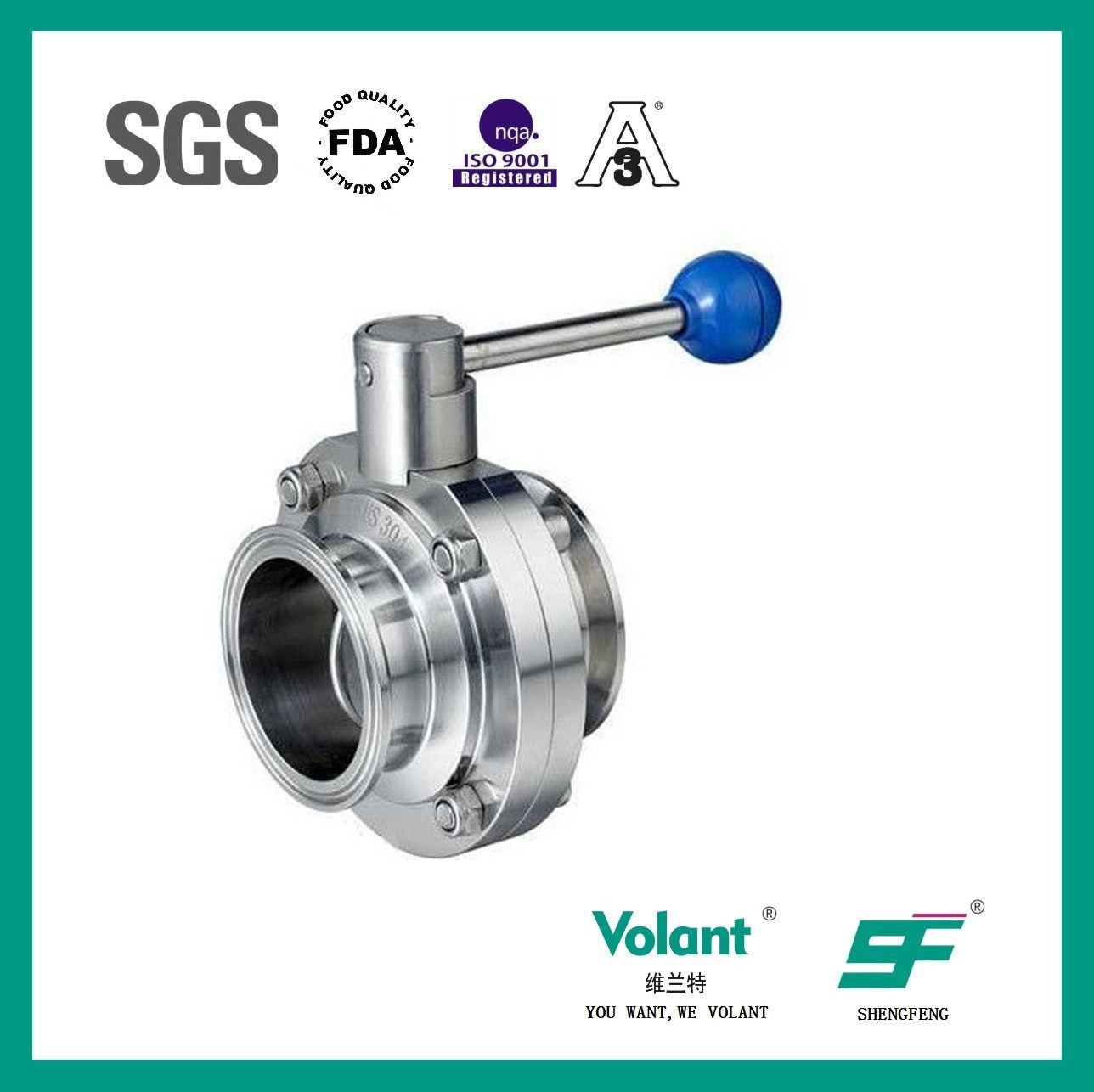 Stainless Steel Food Grade Manual Welded Butterfly Valve