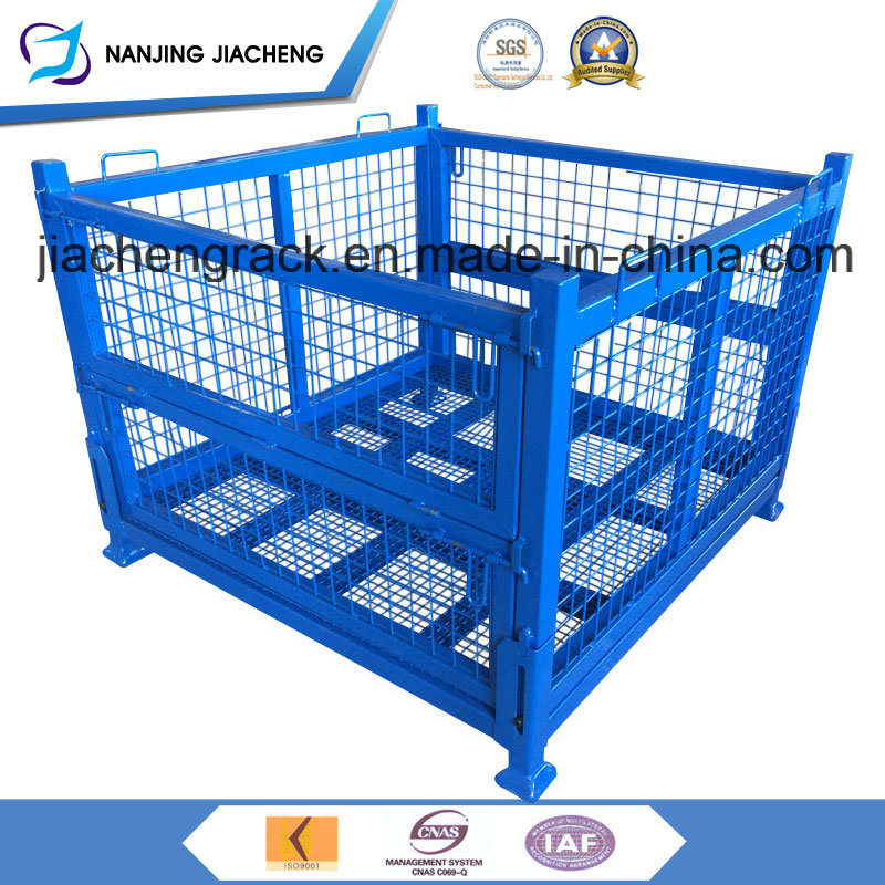 Foldable and Stackable Storage Rigid Metal Weld Wire Cage Pallet