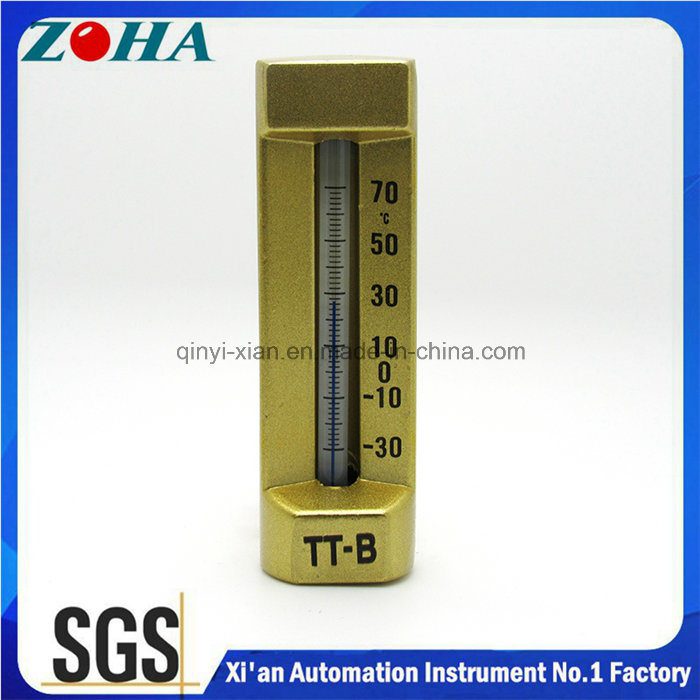 Kerosene Angle 90° Aluminium Upper Body Glass Thermometer with Brass Down Body