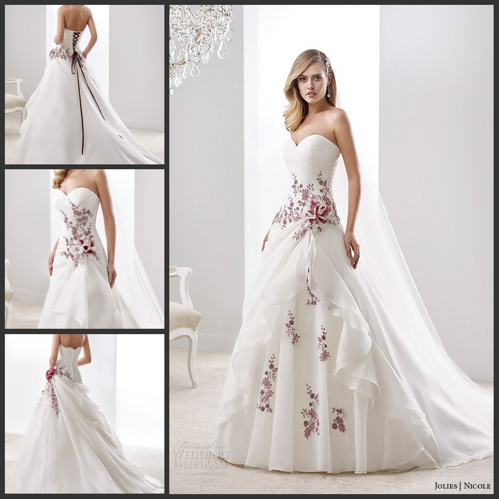 China wine lace bridal gown color accent nicole wedding for Wedding dress with color accent