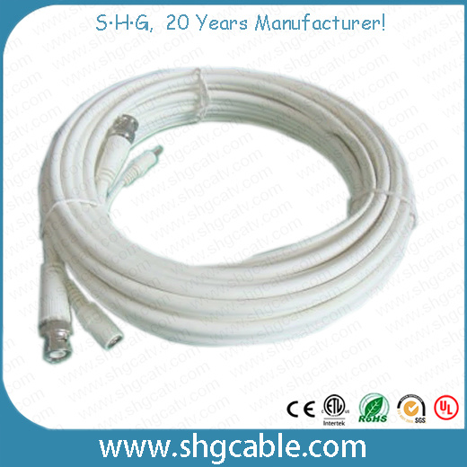 Quality Coaxial Cable Rg59 + Powe Wire Assembly with BNC DC Connectors