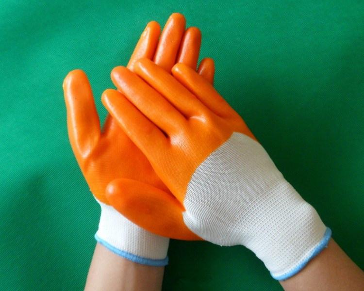 Orange PVC Industrial Safety Gloves for Garden