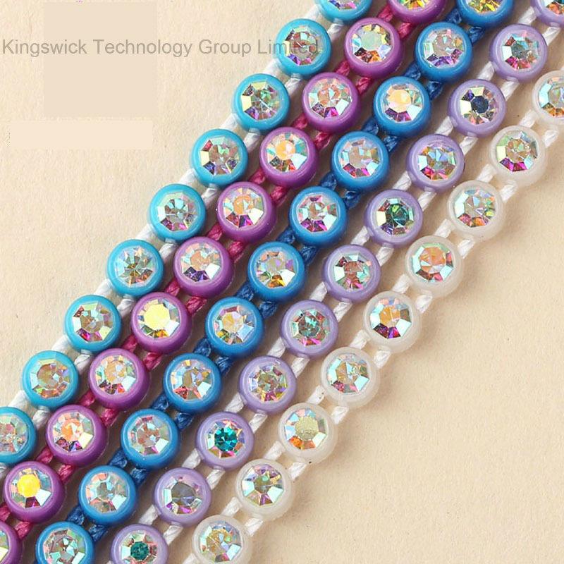 Ss8 Plastic Ab Crystal Rhinestone Banding Trimming