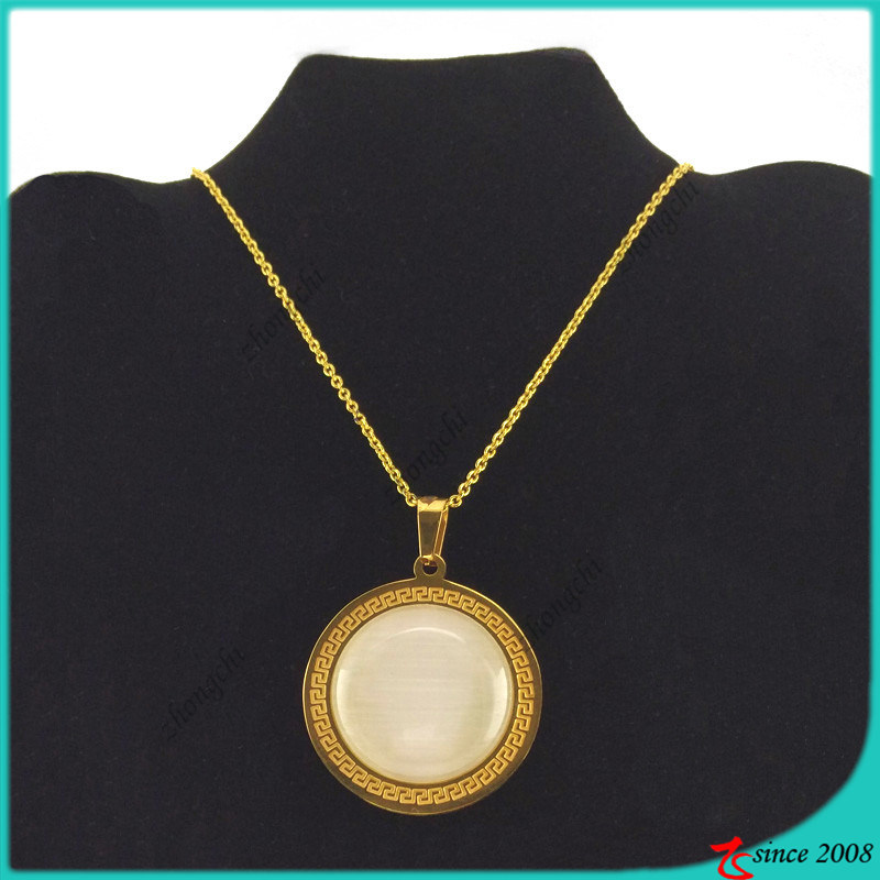 Gold Stone Stainless Steel Neckalce Jewellery for Lady (FN16040901)