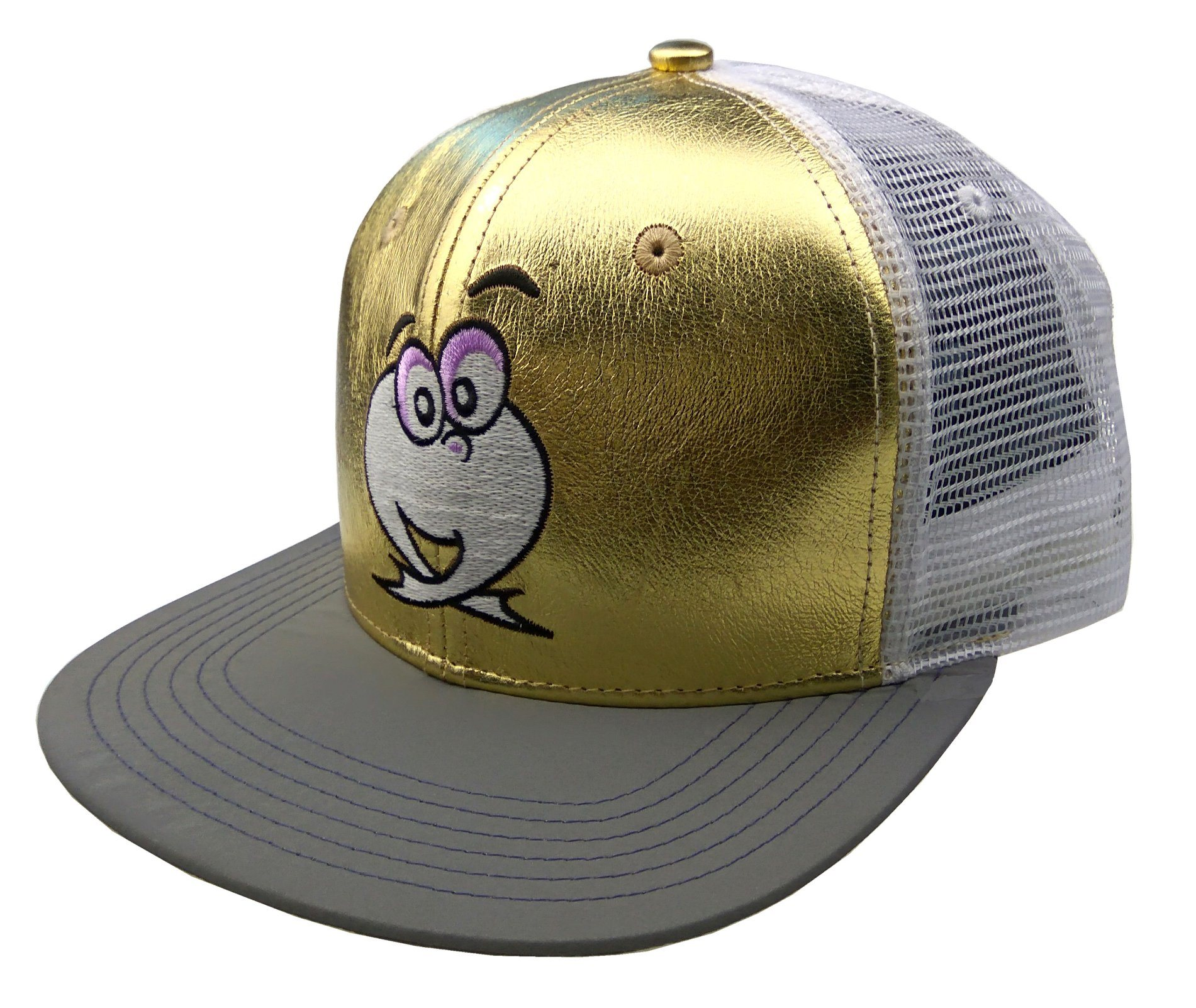 Gold/White 6 Panels PU/Mesh Flat Brim Cap Trucker Cap with Embroidery