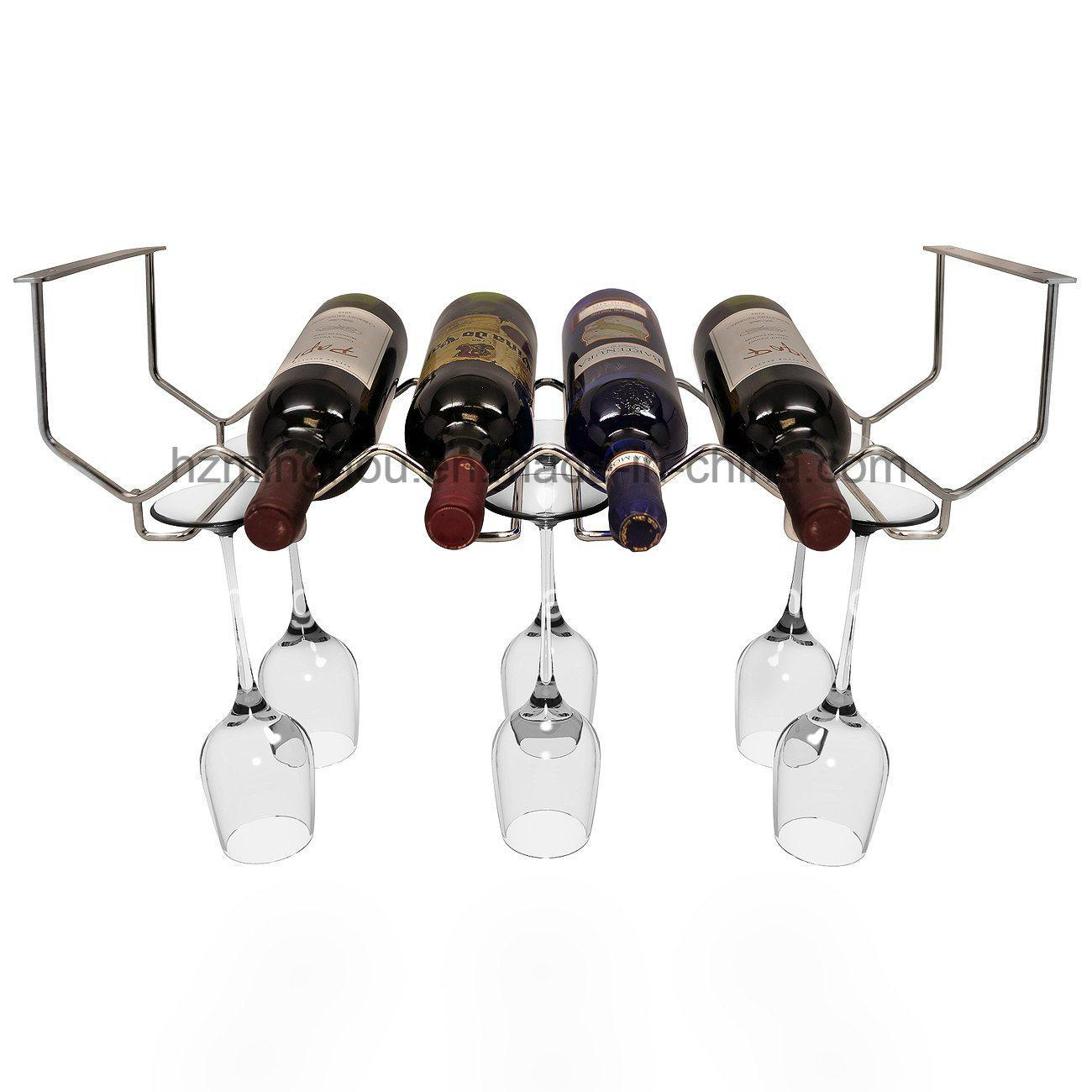 6-Bottles Metal Under Cabinet Wine Bottle Storage Glassware Holder