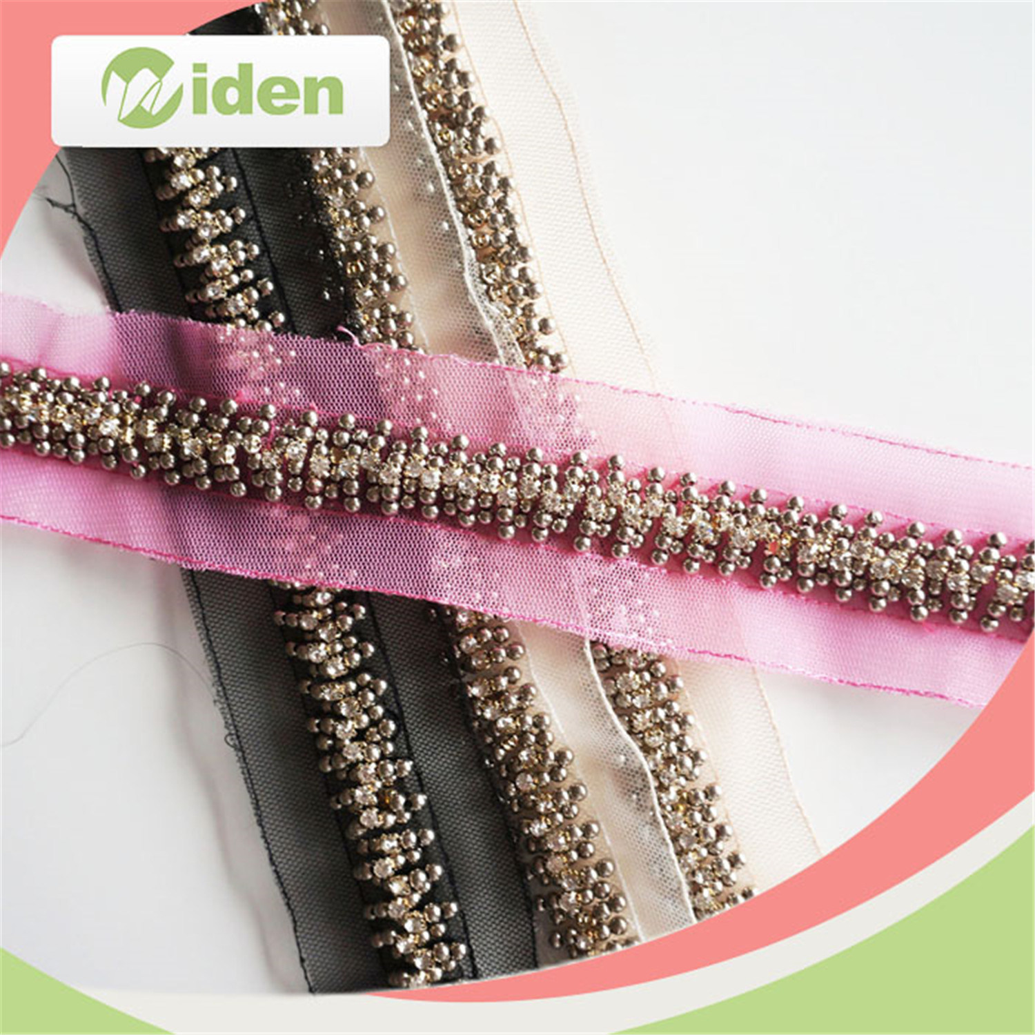 Fashion Design French Net Lace Fabric Beaded Lace Trim