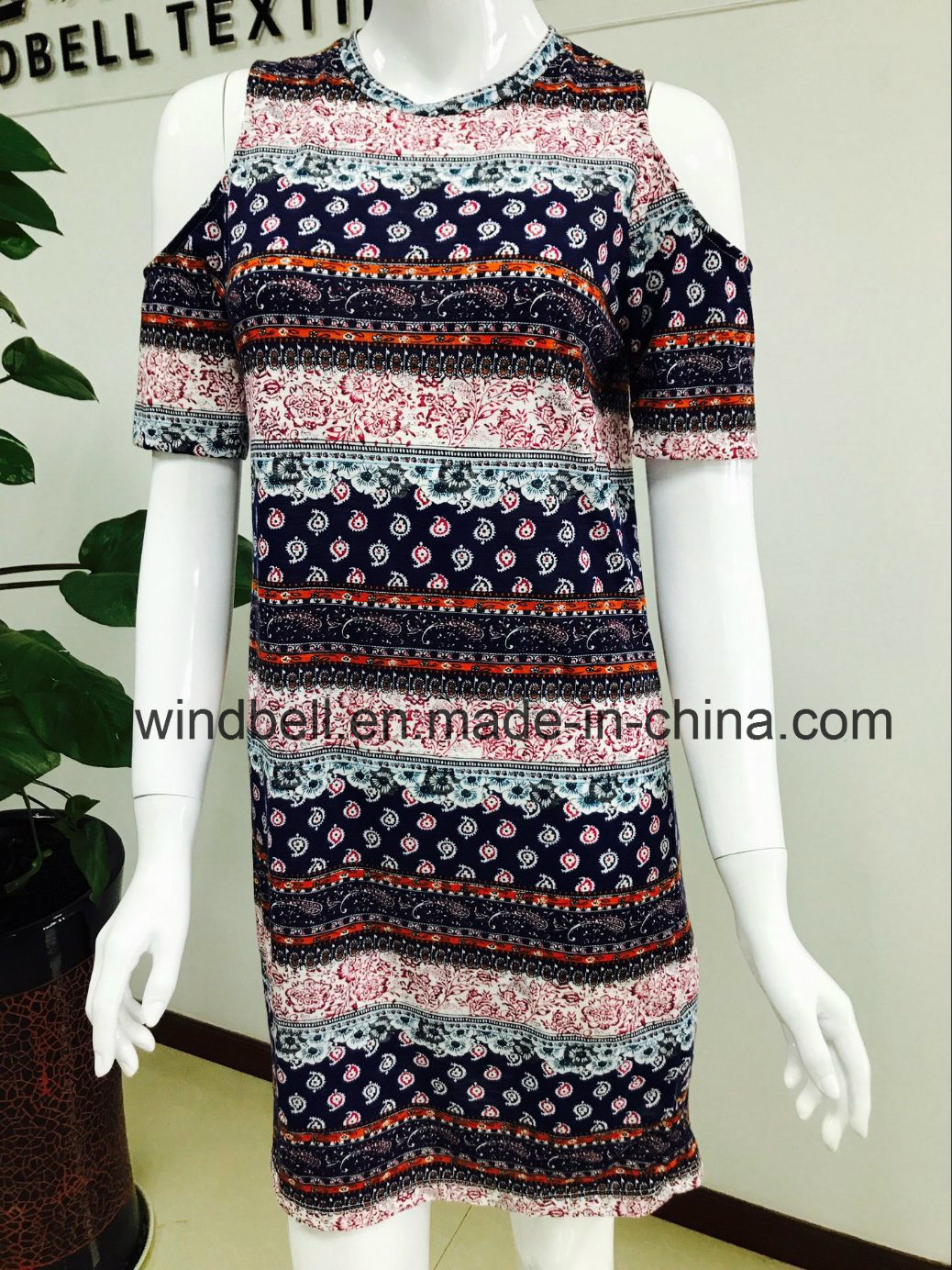 Womens Artistic Dress with All-Over Printing