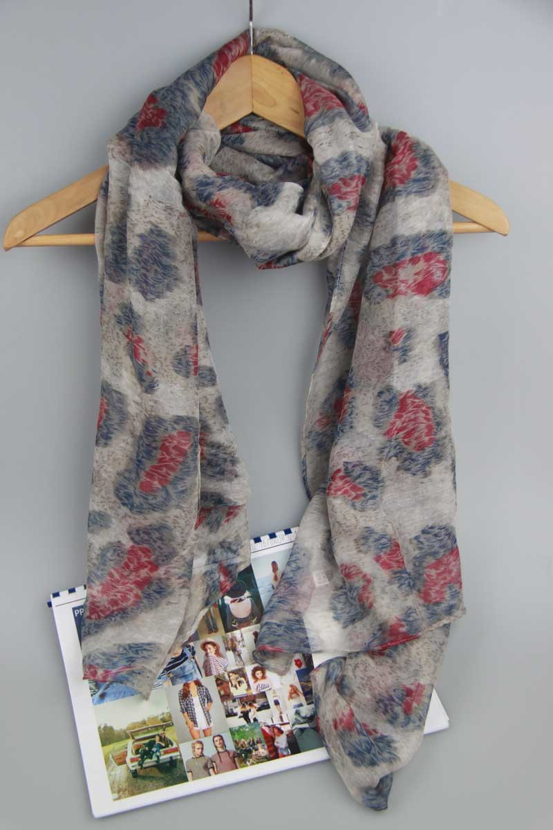Red Flower Print Scarf for Girls Leisure Shawl Fashion Accessory