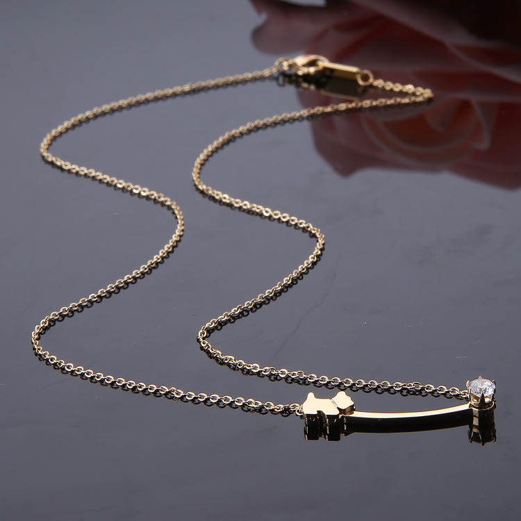 Stylish Women Costume Jewelry Gold Plated Stainless Steel Fashion Necklace