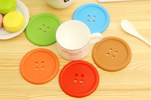 Good Quality Buttons Shape Silicone Cup Mat Placemat