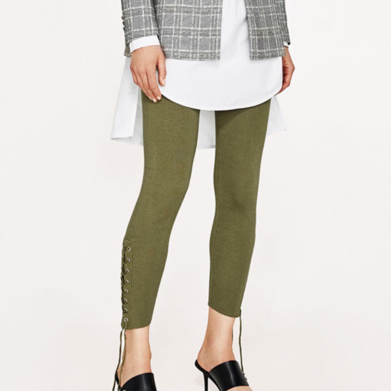 Ladies Fashion Bandage Preppy Style Jeggings Pants