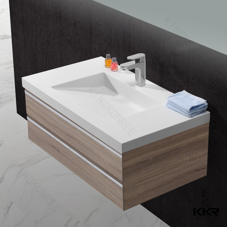 White Solid Surface Bathroom Cabinet Hand Basin (170908)