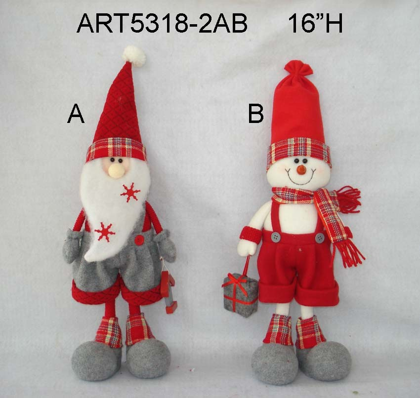 Standing Treeshaped Santa and Snowman-2asst Christmas Gift