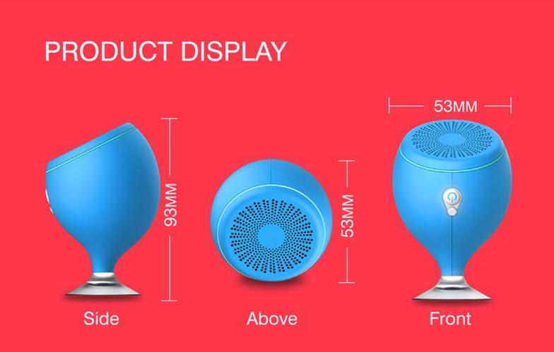 Wireless Mini Portable Waterproof Bluetooth Speaker with Sucker for Bathroom