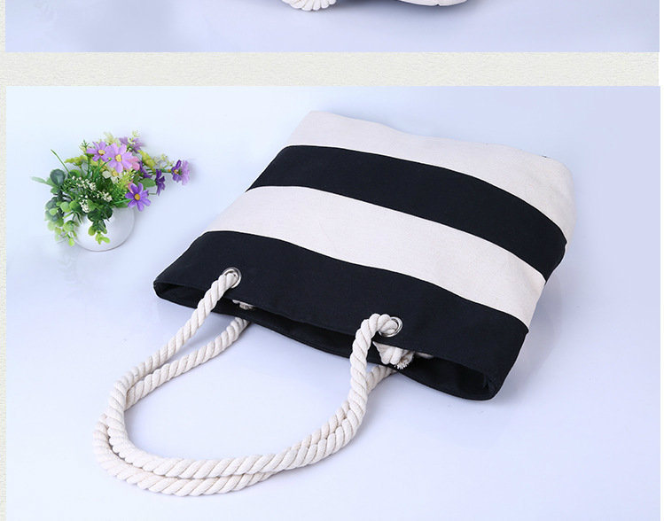 Strip Print Fashion Waterproof Canvas Beach Bag Beach Handbag