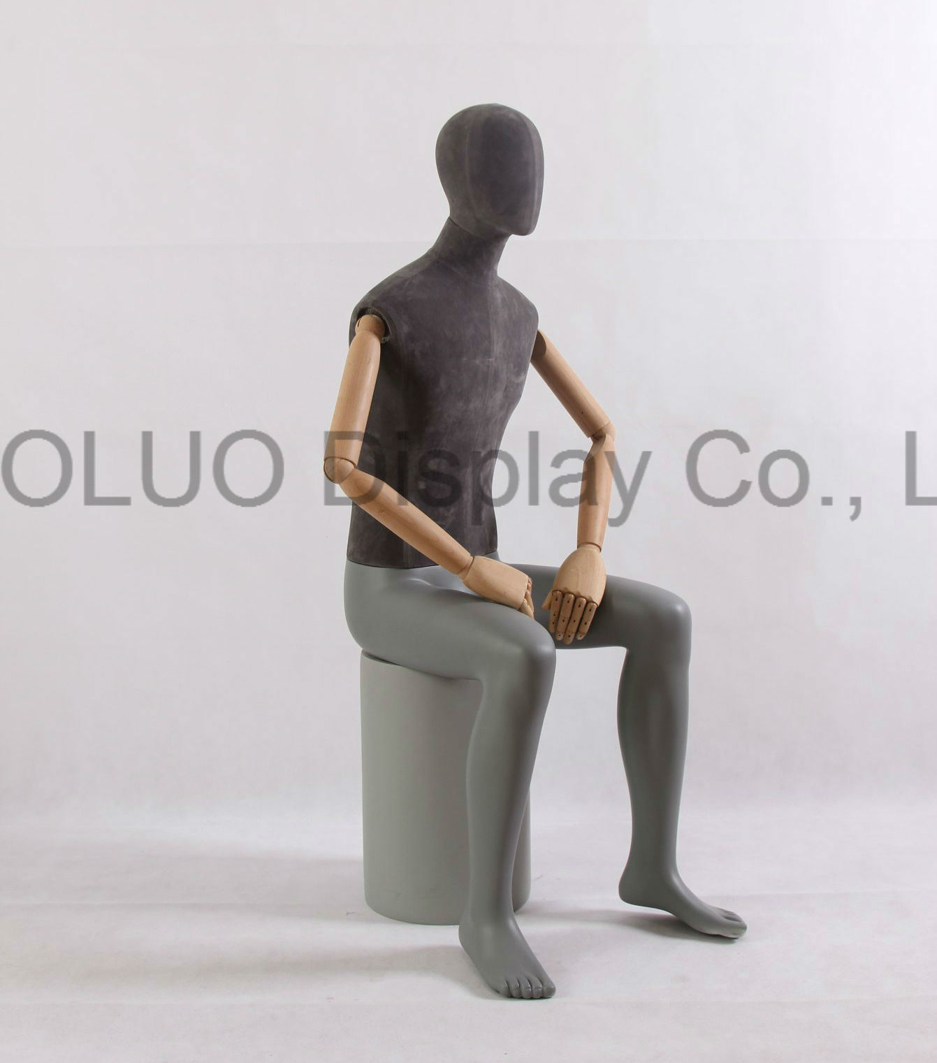 New Design Linen Wrapped Male Mannequin with Wooden Arms