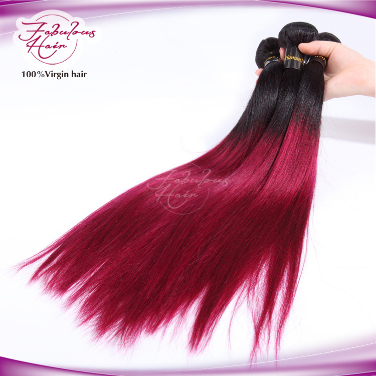8A Ombre Human Hair Weaving Virgin Straight Hair 1b/99j Color