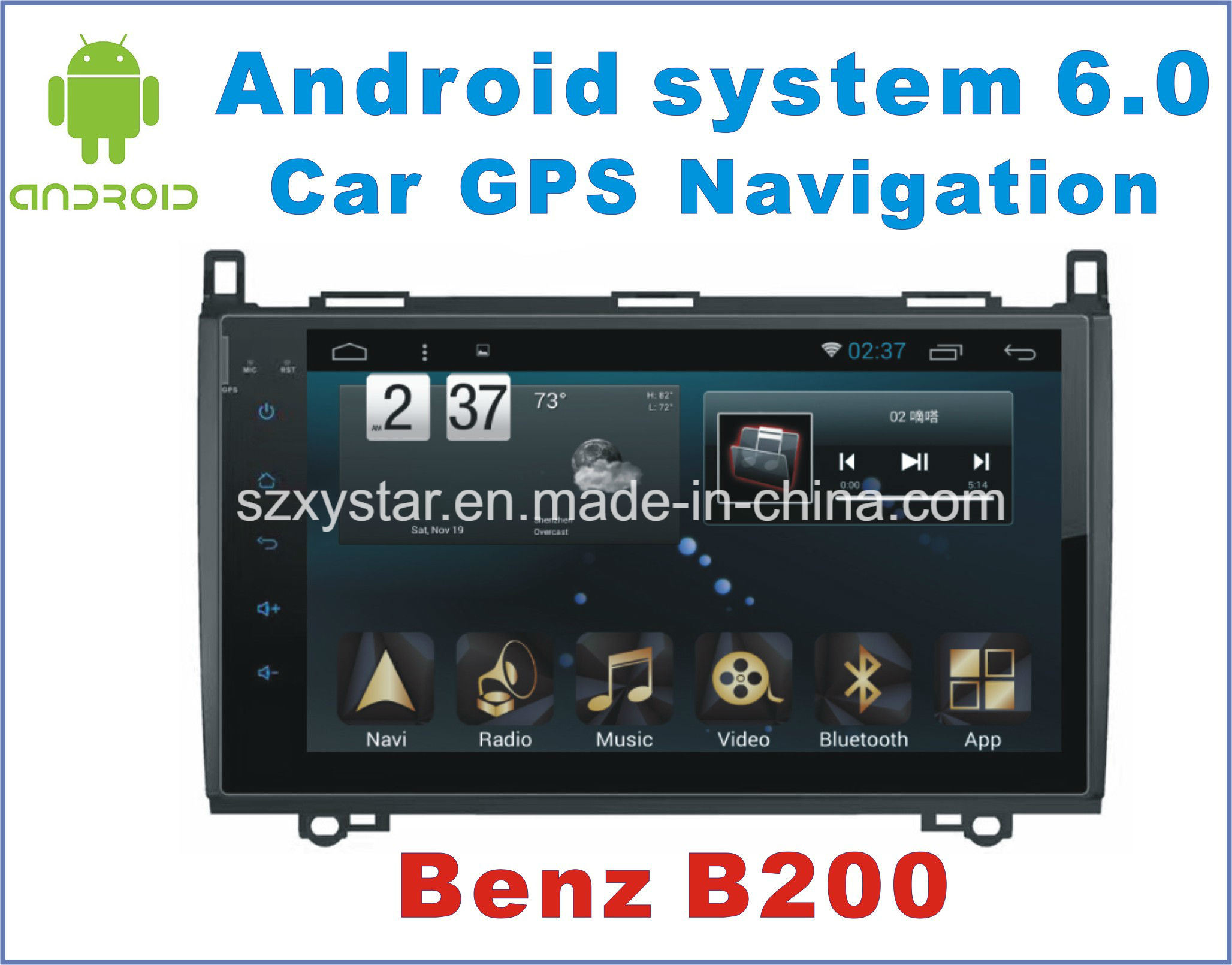 New Ui Android 6.0 Car GPS Navigation for Benz B200 with Car Video