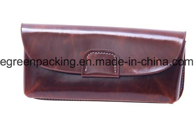 High Quality Brown Soft Leather /Real Leather /Semi Soft Leather /PU Sunglasses Case (DS5)