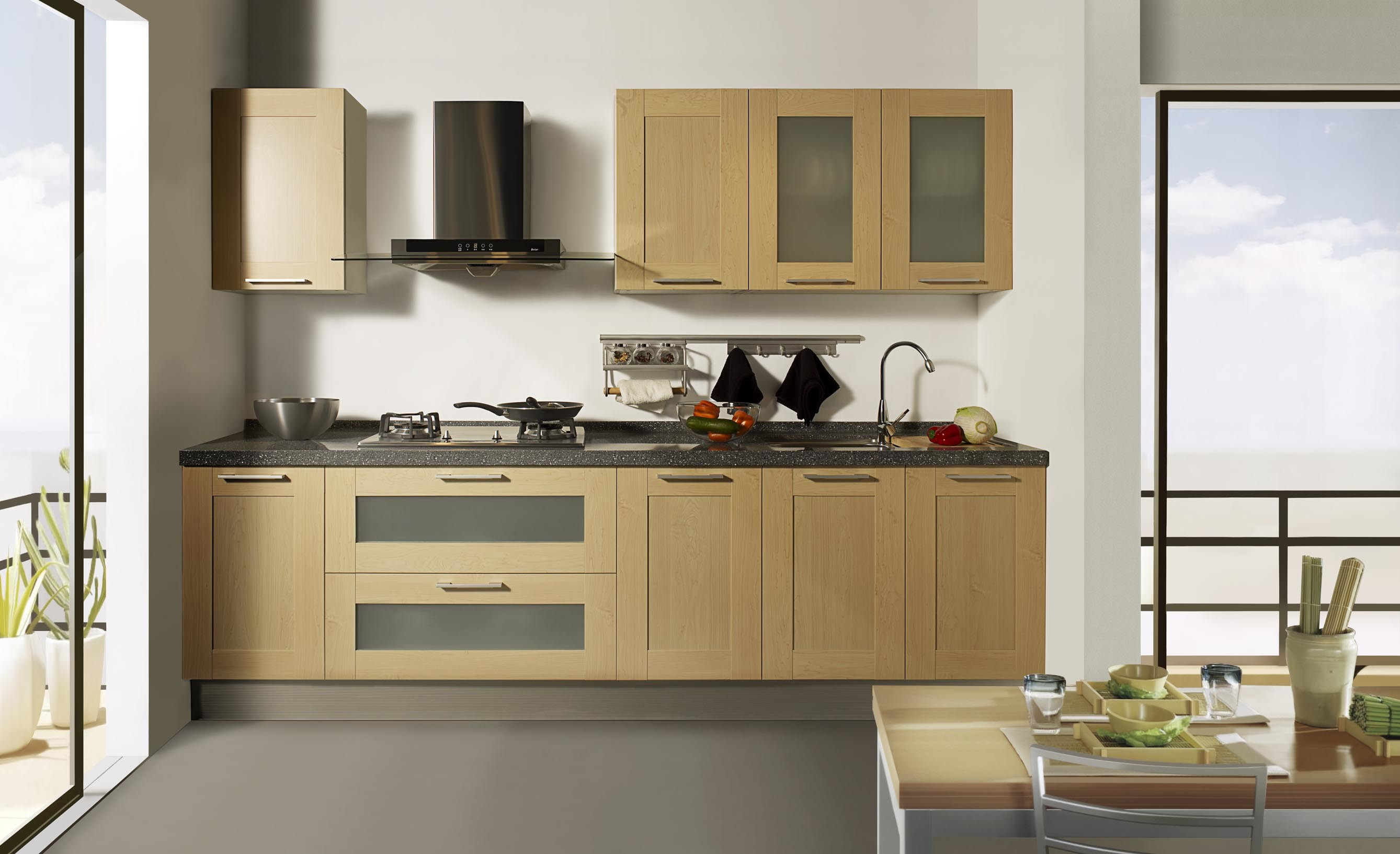 Wood Veneer Kitchen Cabinet China Kitchen Cabinets Wood Cupboard