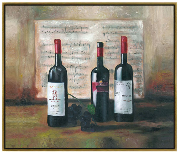 Purple Bowls Wine Bottels Modern Canvas Painting Wall Art: Art Party: Painting Research